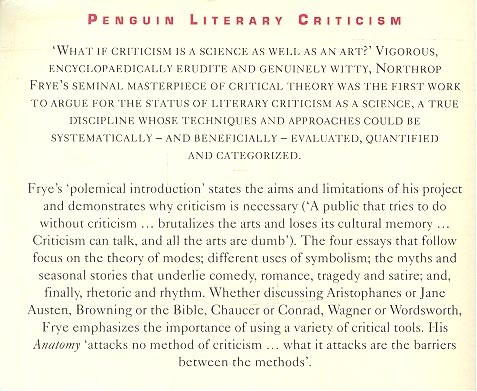 northrop frye anatomy of criticism four essays